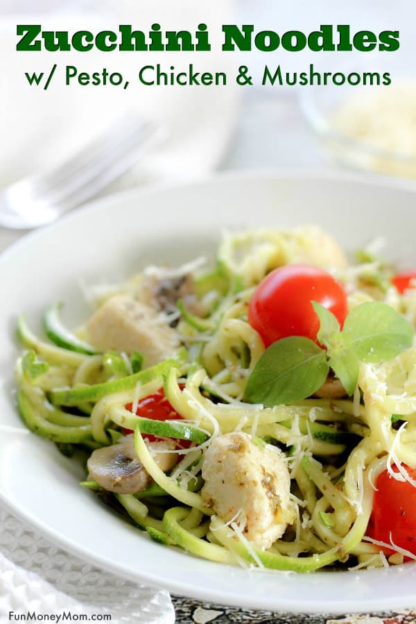 Zucchini Noodles Recipe - Want a healthy dinner recipe the entire family will love? The kids will love eating their veggies when you serve these delicious Zucchini Noodles withPesto, Chicken And Mushrooms. Also known as zoodles, spiralized zucchini recipes make the perfect healthy meal! #zucchininoodles #zucchinirecipe #zoodles #zucchininoodleswithpesto #pesto #dinnerrecipe #spiralizedzucchini