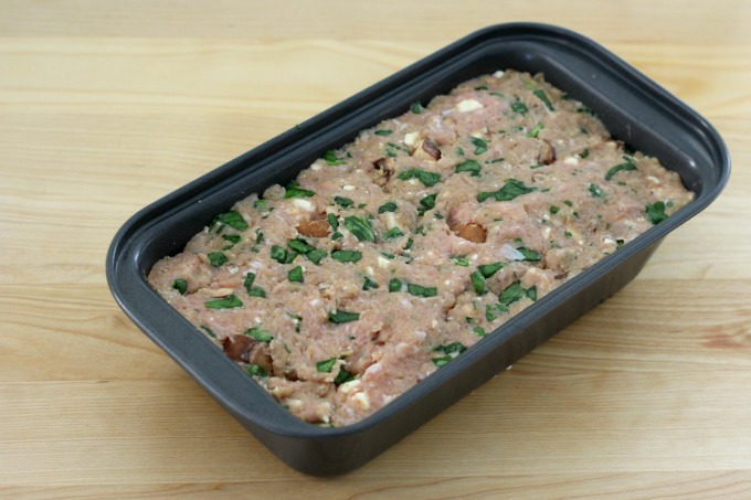 Once everything is blended, put the mixture in a loaf pan.