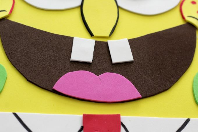 Glue the mouth on the Sponge Bob Valentine Box