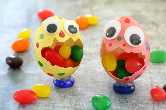 These Easter egg monsters looked even more cute with a mouth full of jellybeans