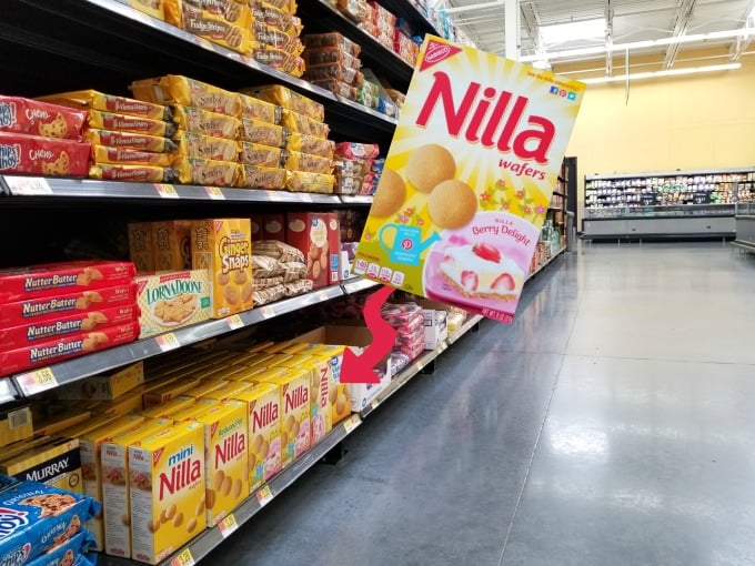 NILLA Wafers are easy to find in the cookie and crackers aisle at Walmart