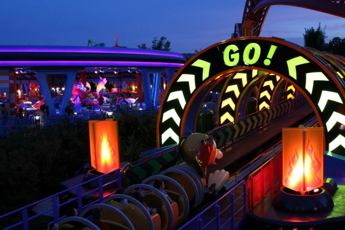 At one point in the ride, Slinky Dog stops, backs up and takes off like a pull back toy