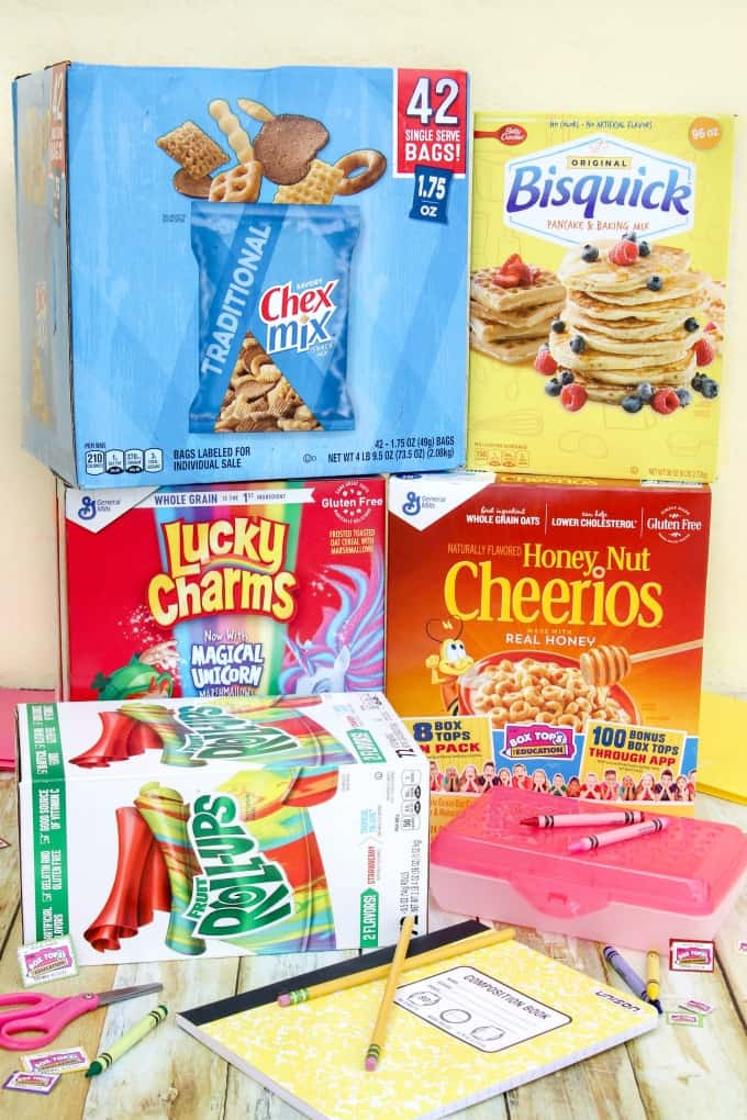 Cereals and snacks with Box Tops