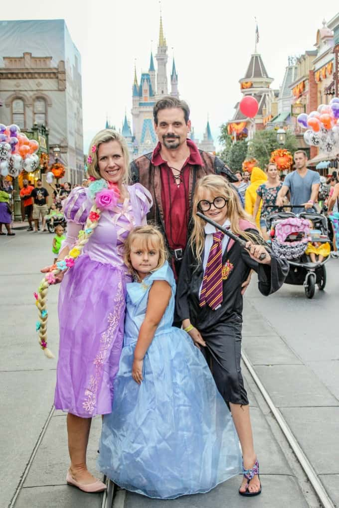 Dressed up in Disney princess costumes for Halloween