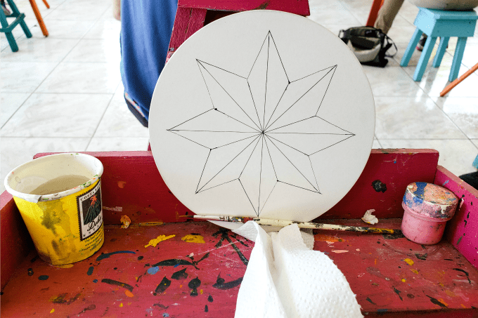 Getting ready to paint a wheel at Sarchi Artisan Village