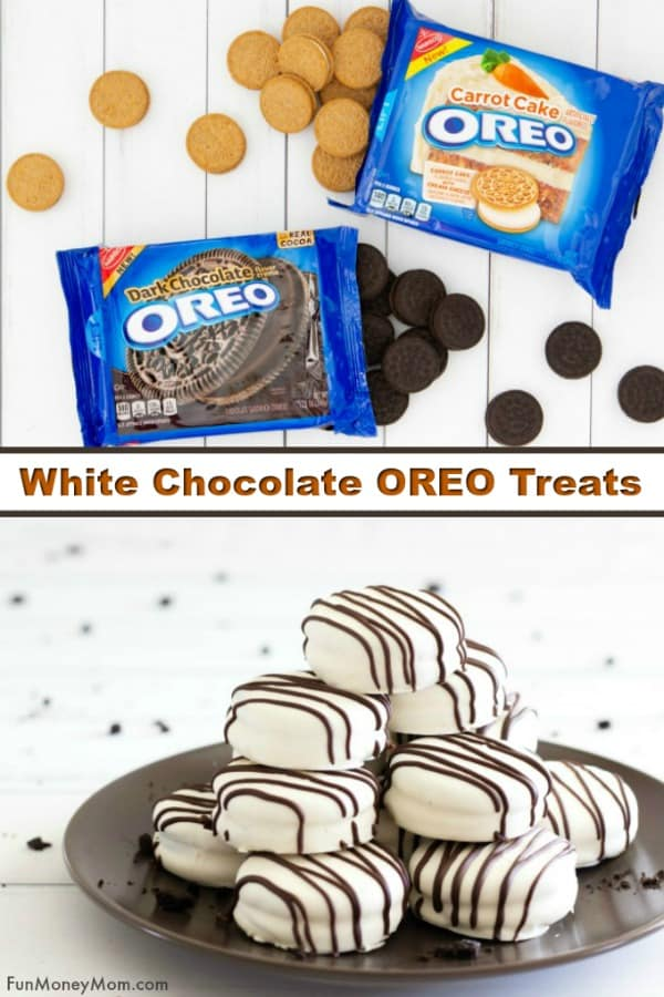 Chocolate Covered OREO Cookies - These white chocolate covered OREOs are made with one of awesome new OREO flavors, OREO Dark Chocolate. This easy cookie recipe is the perfect sweet treat and the best part is that it can be made with OREO Carrot Cake too! #ad #OREOatWalmart #IC #cookies #cookierecipe #dessert #OREOrecipe #dessertrecipe #sweets