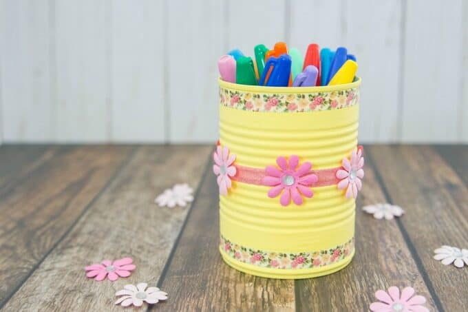 Soup can pencil holder