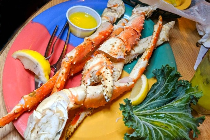 Crab legs at Cooters restaurant in Clearwater