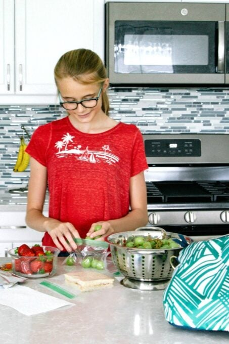 Ashling making her school lunch