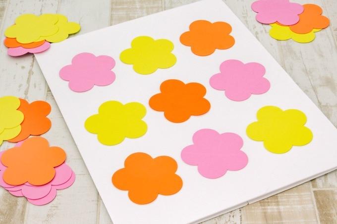 Flowers on white foam board