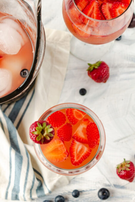 white wine sangria in glass from above