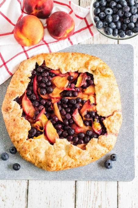 Blueberry peach galette with fruit