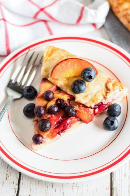 Galette with peaches and blueberries