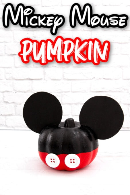 Mickey Mouse pumpkin with white wall in back
