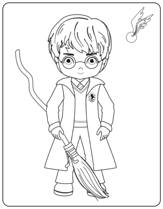 Harry with broom coloring page