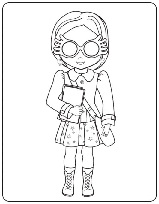 Luna Lovegood with glasses down coloring page