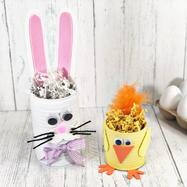 Bunny And Chick Tin Can Easter Crafts