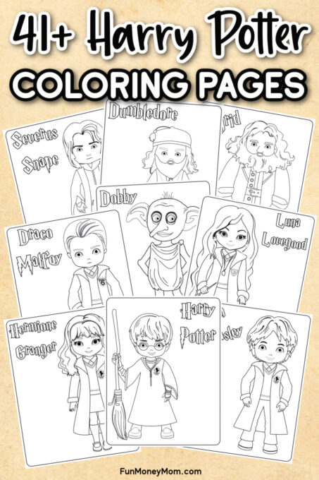 Several Harry Potter Printable Coloring Pages on a tan background