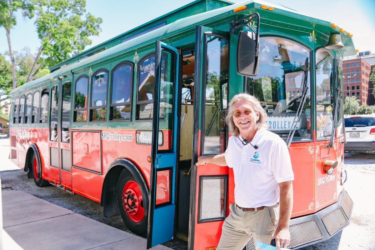Discover Sarasota Tours trolley and tour guide