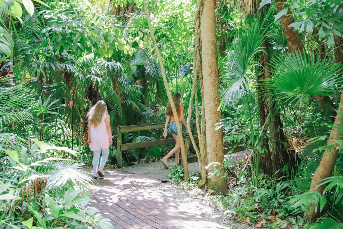 Girls strolling through Sarasota's Jungle Gardens