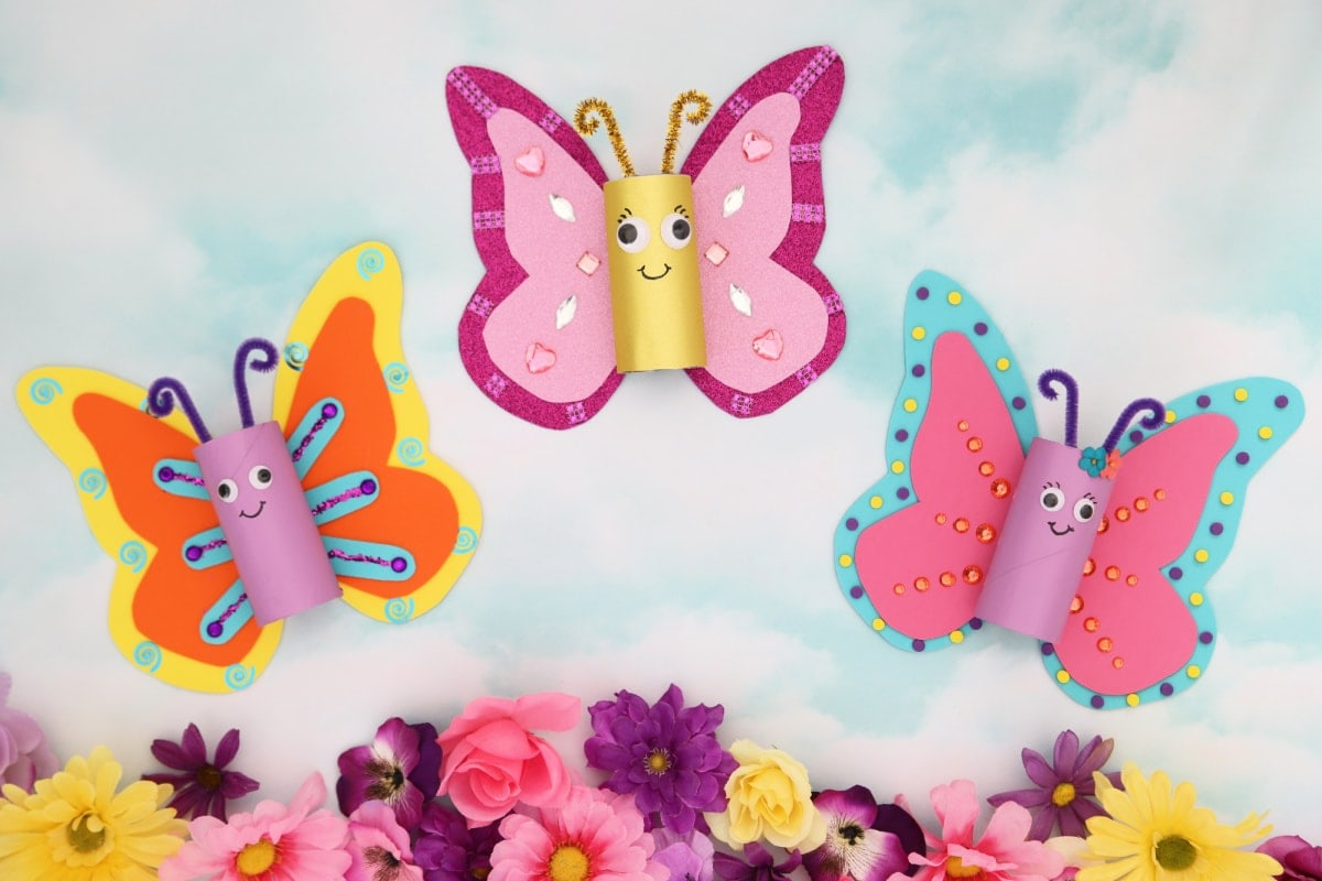 Butterfly toilet paper roll crafts with flowers
