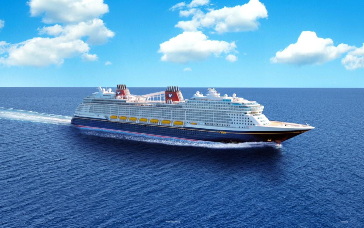 Disney cruise ship on the ocean