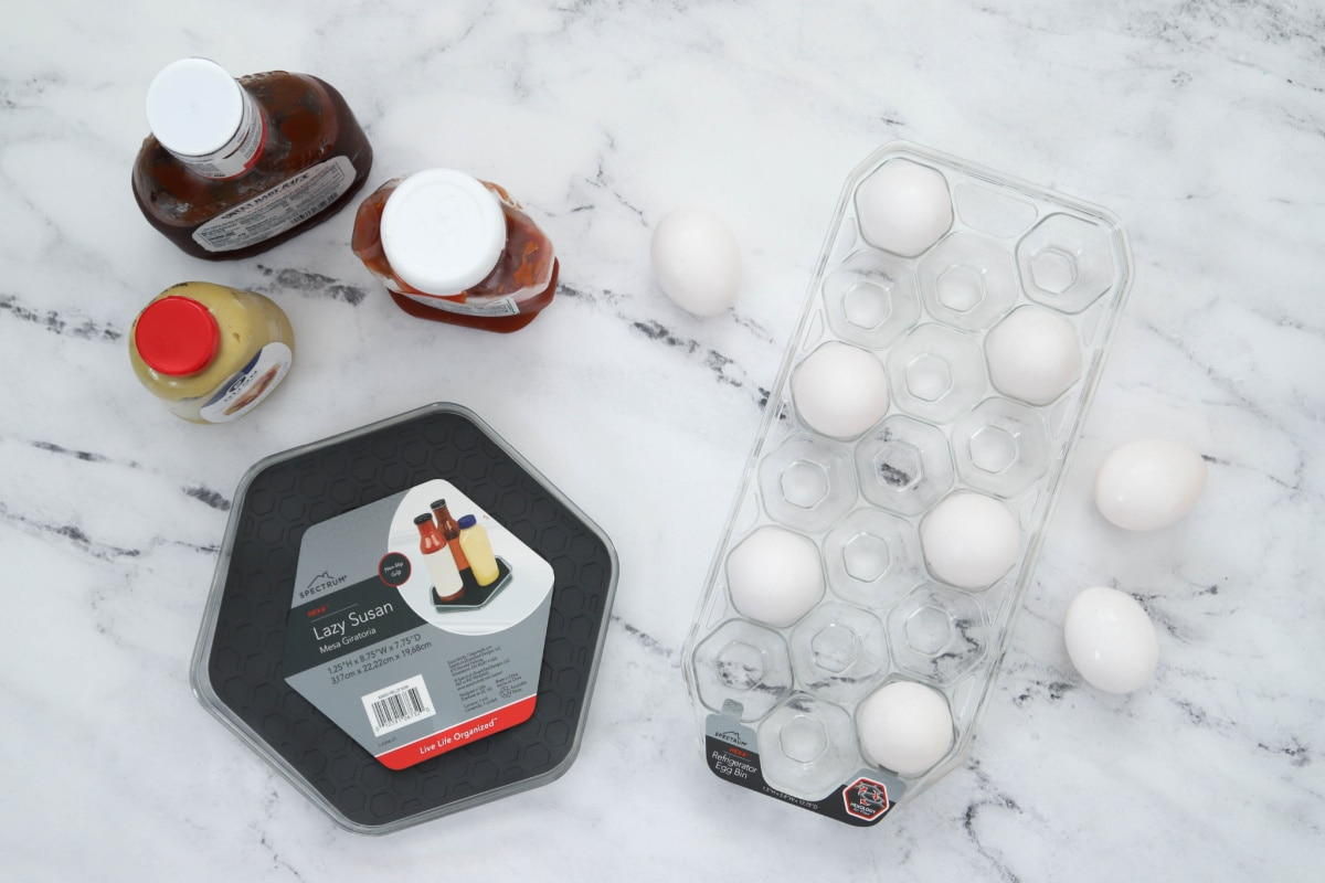 Egg tray and lazy susan for refrigerator
