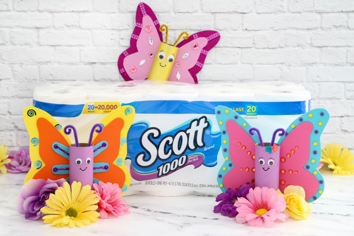 Scott toilet tissue with butterfly toilet paper roll crafts