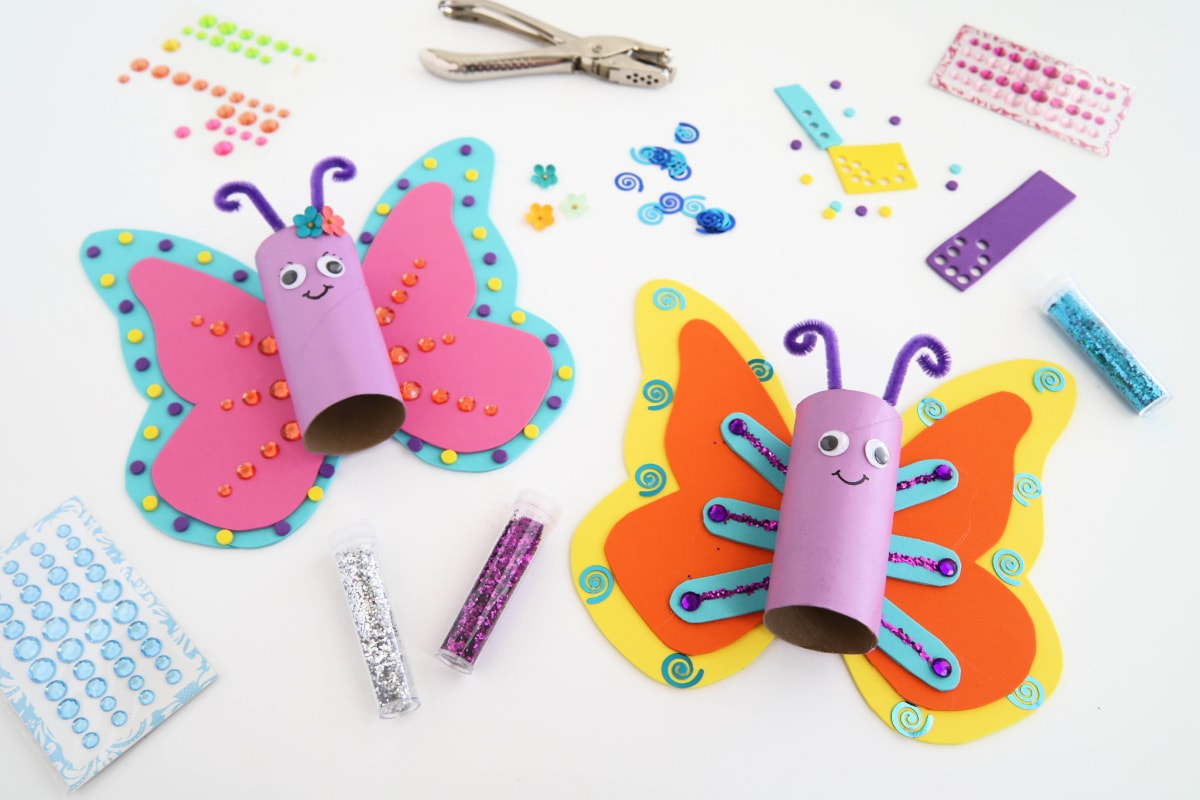 Toilet Paper Roll Craft Butterflies with craft materials