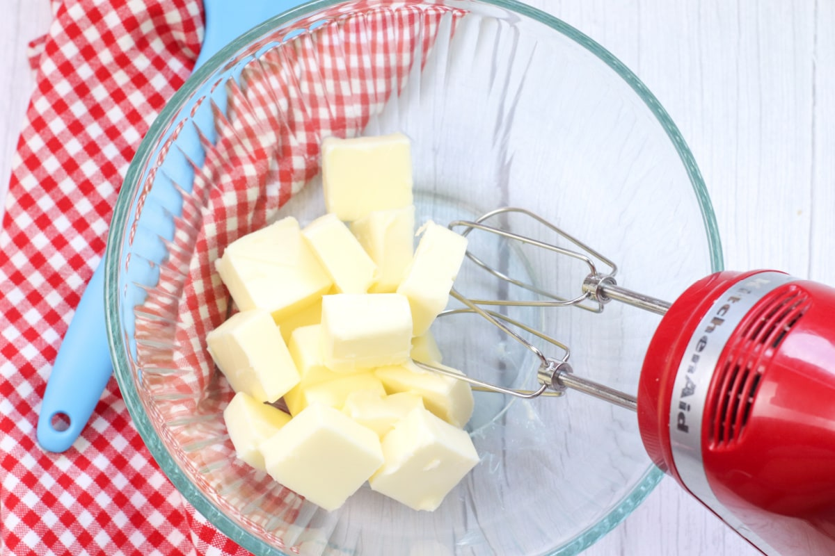 Butter slices in a glass bowl