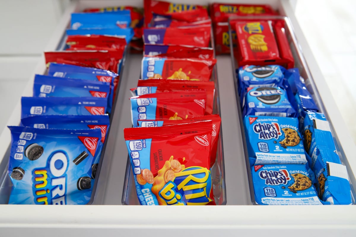 Snack drawer filled with snacks