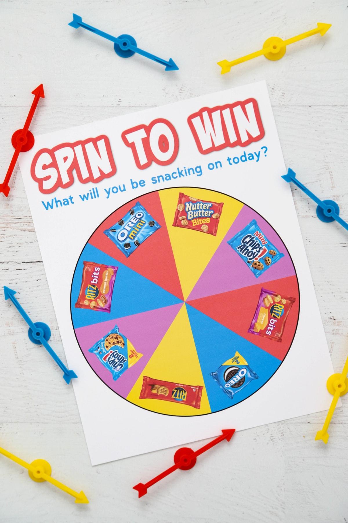 Spinner for choosing after school snacks