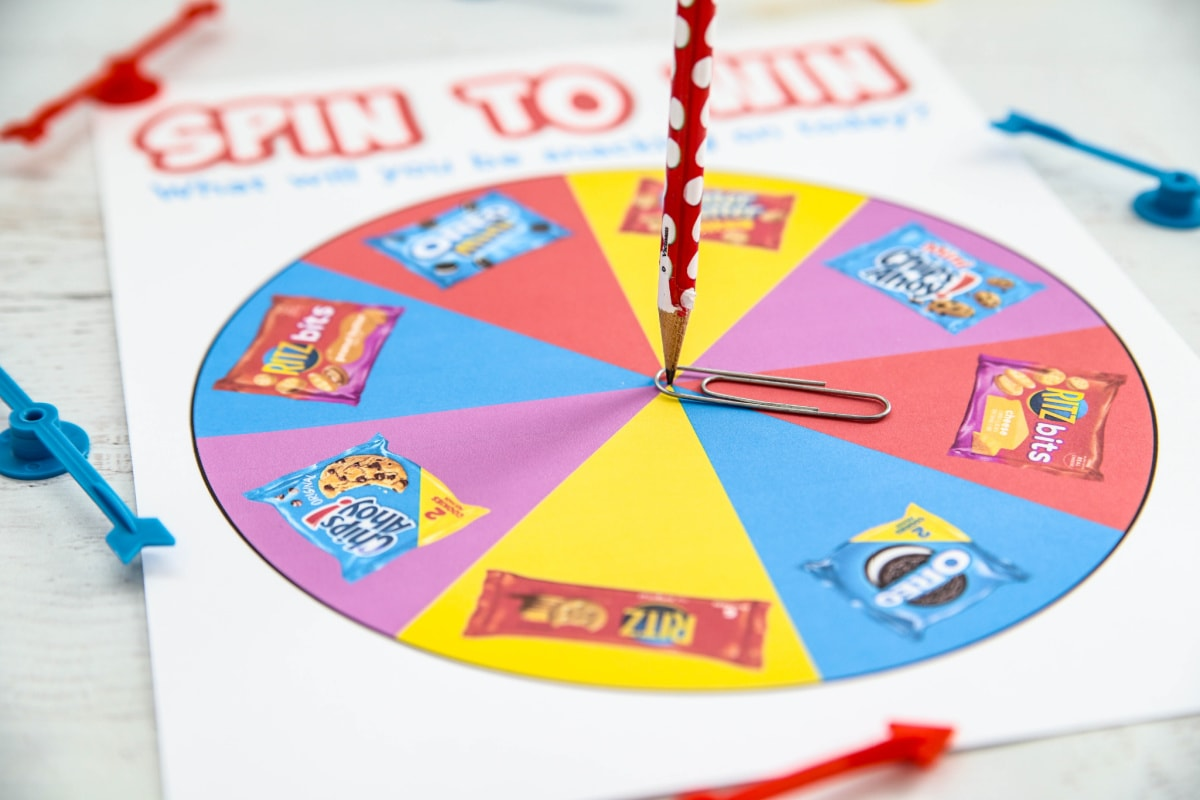 Pencil and paper clip for spinner game