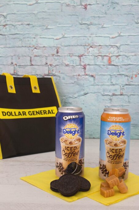 International Delight cans with candy and cookies and Dollar General bag