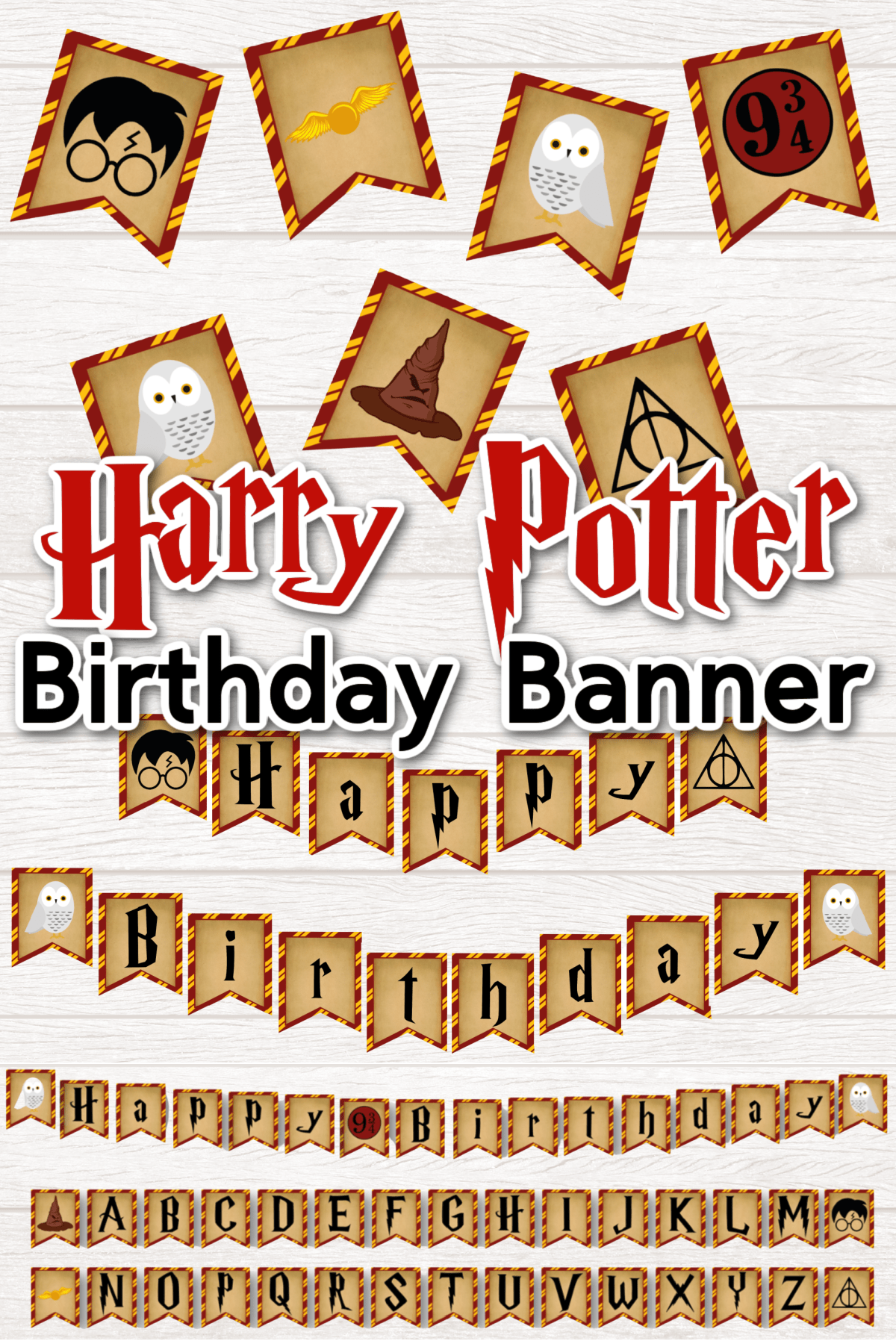 Harry Potter Birthday Banner With letters and images