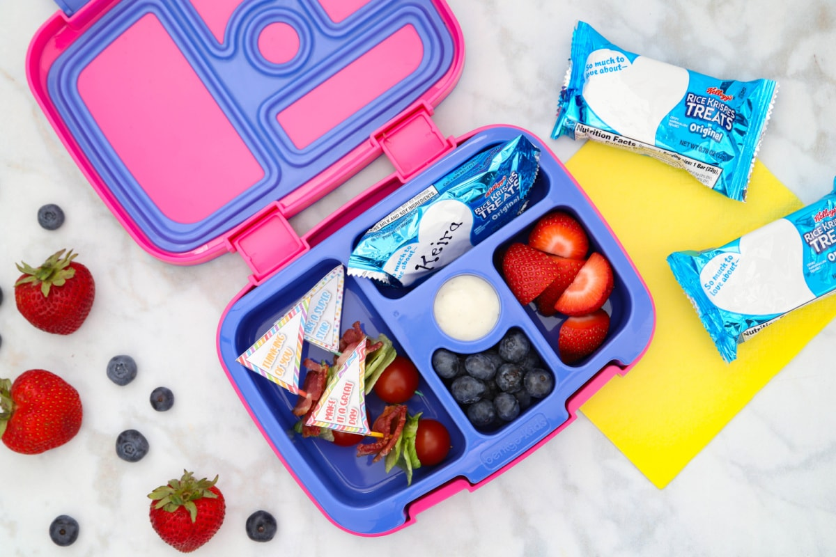 Bento box filled with lunch foods