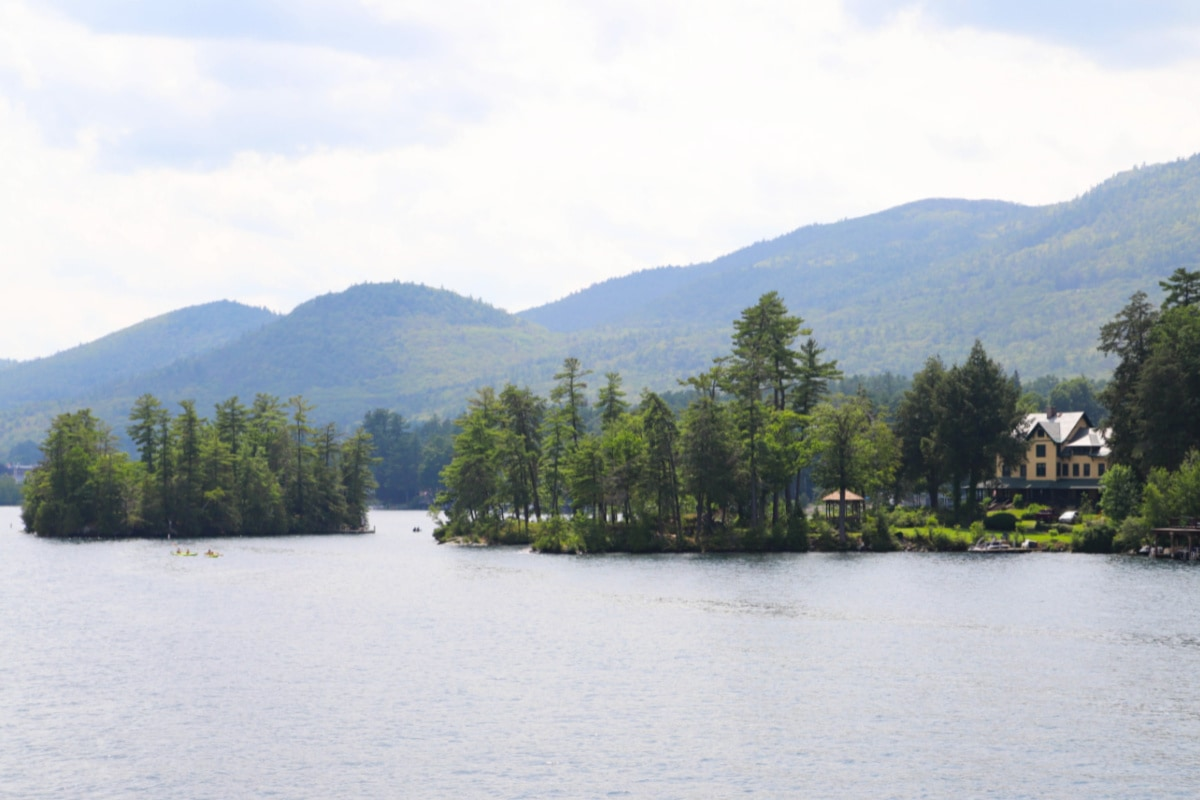 Lake house and islands on Lake George New York