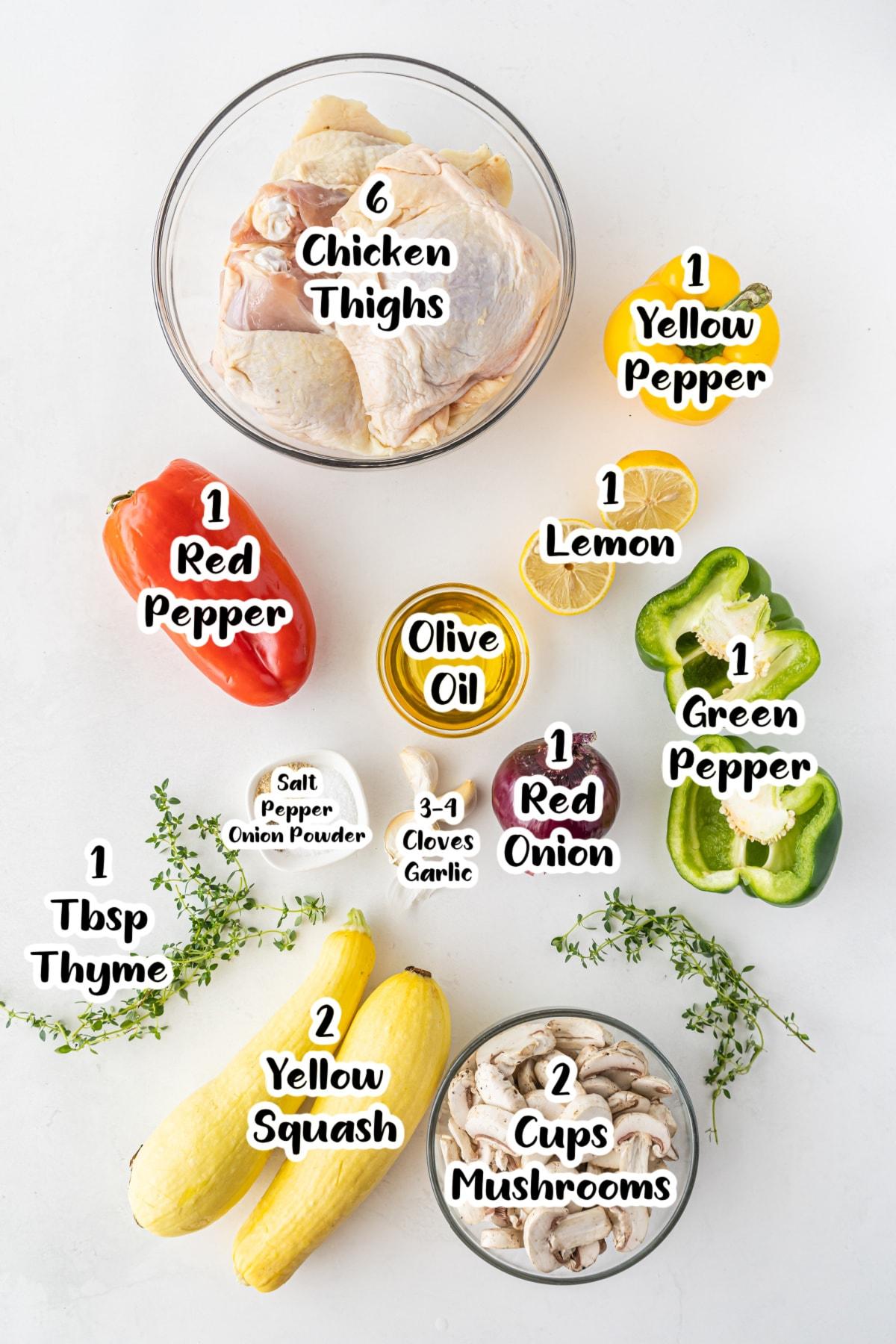 Ingredients for sheet pan chicken and veggies