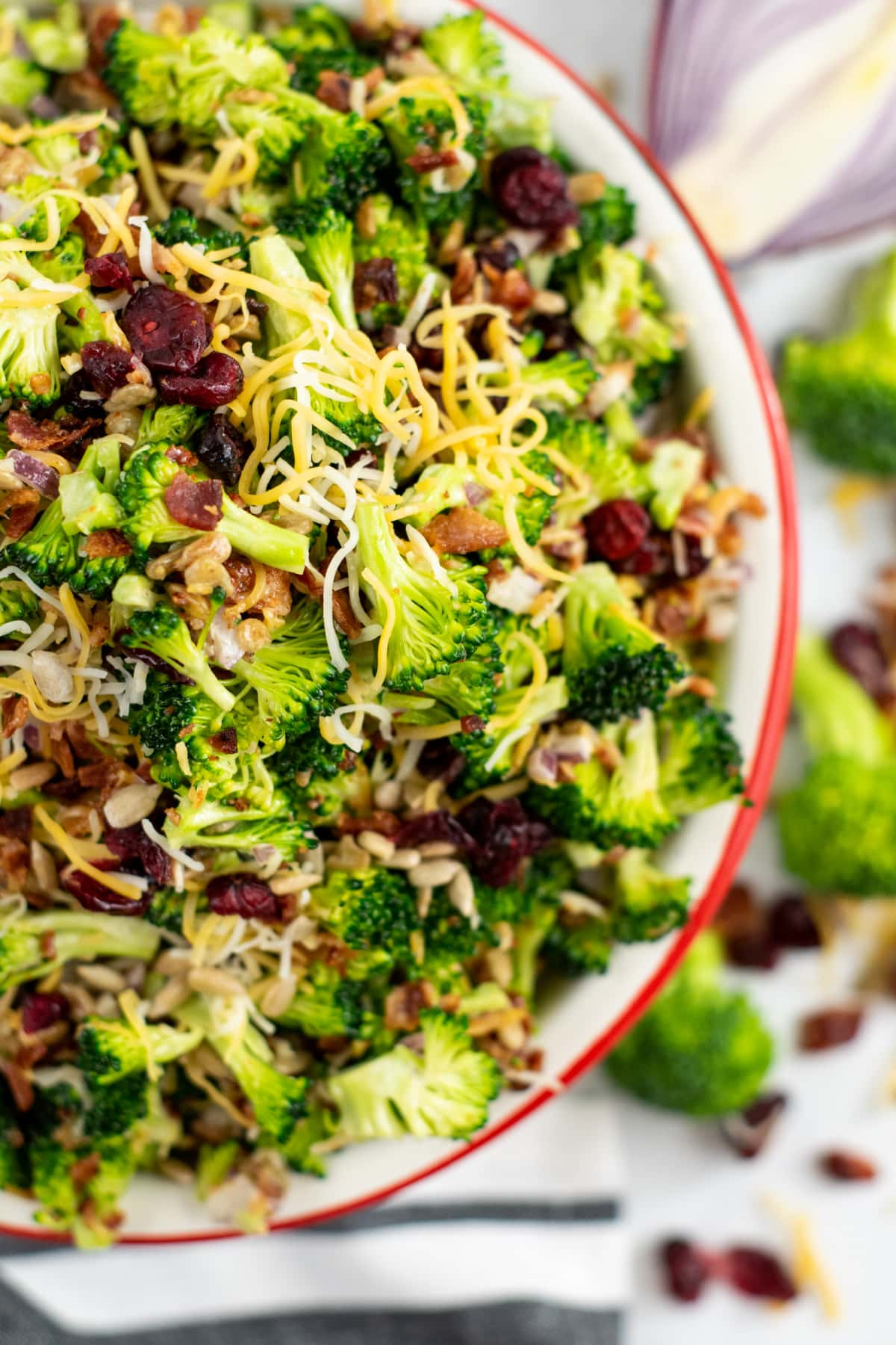 Broccoli salad with craisins extreme closeup