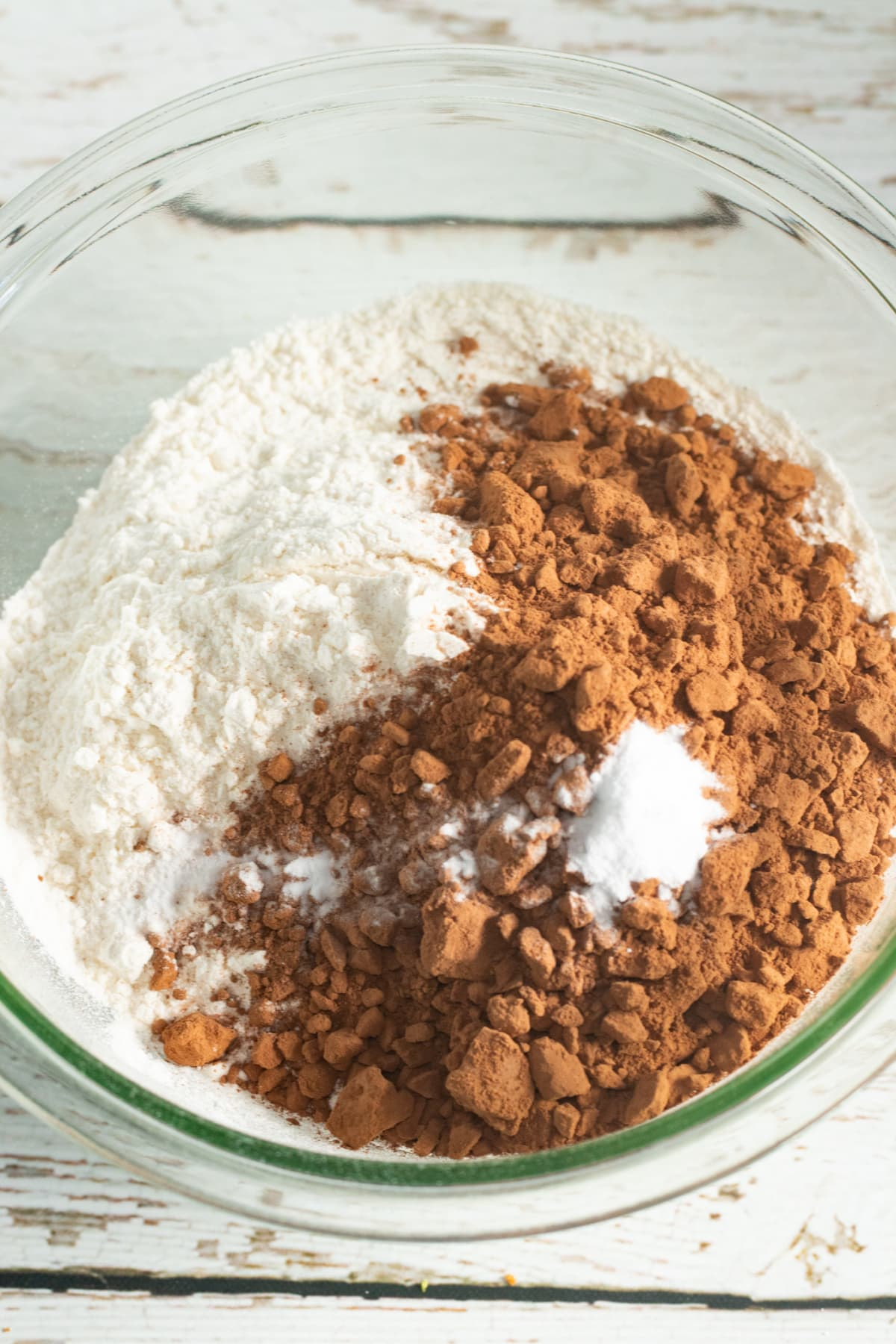 Flour, baking soda and cocoa for Mississippi Mud Cake