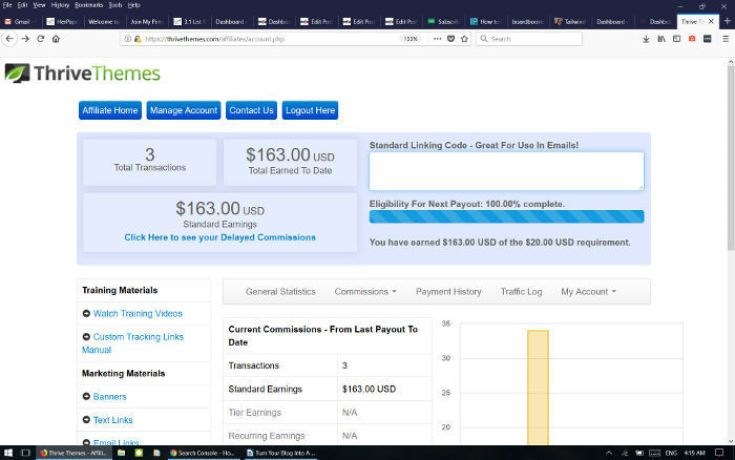 Thrive affiliate earnings