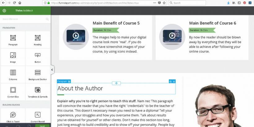 Course sales page creation