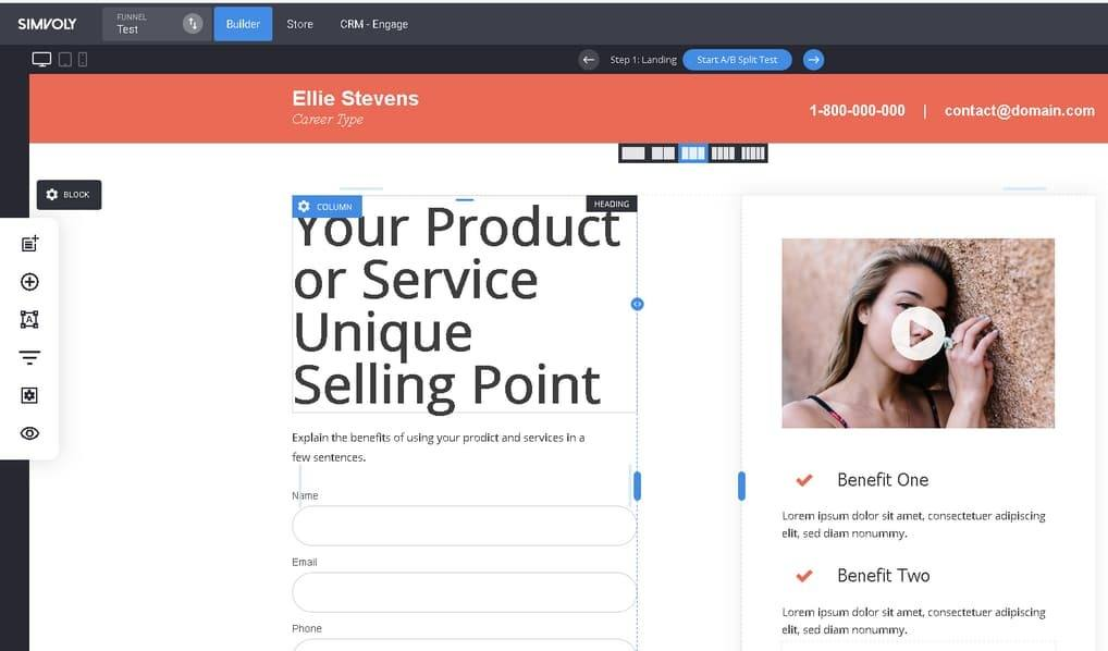 simvoly edit funnel template