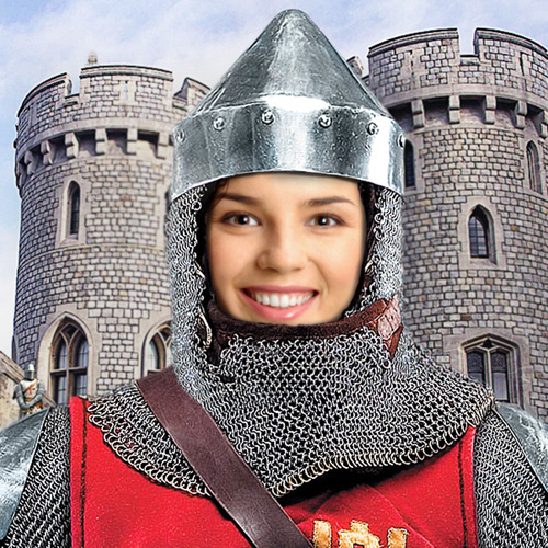 Knight in Arms Face in Hole Photo Montage Online