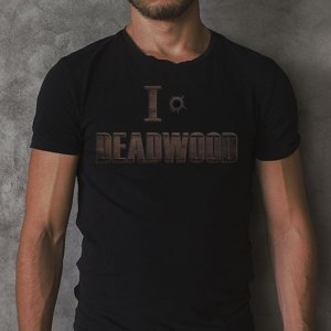 I Love Deadwood (Bullet Hole) men's black t-shirt.