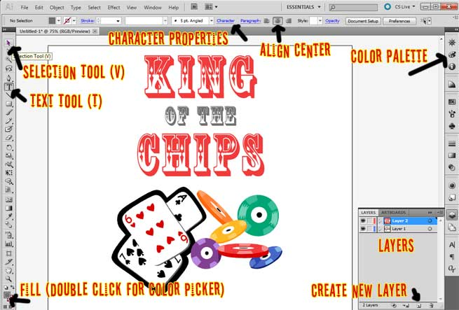 Illustrator Poker shirt tutorial screenshot of Illustrator tools.