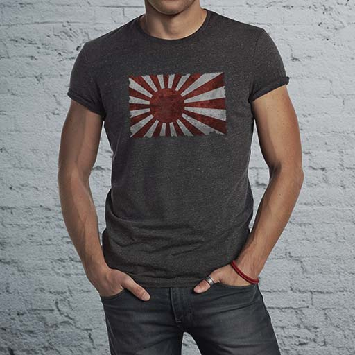 Japanese Land of the Rising Sun Flag men's dark t-shirt.