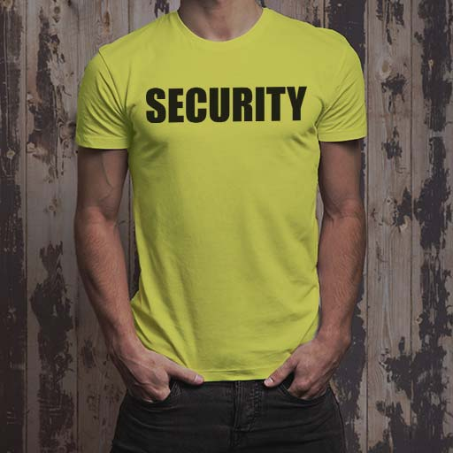 SECURITY uniform T-Shirt: Bright yellow men's t-shirt.
