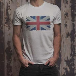 UK Grunge Union Jack Flag men's White t-shirt.