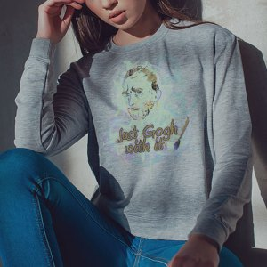 Just Gogh With It: Vincent Van Gogh funny women's gray longsleeve shirt design.